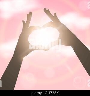 Hände in Form von Herzen über rosa Himmel. Konzept-Vektor-illustration - Stockfoto