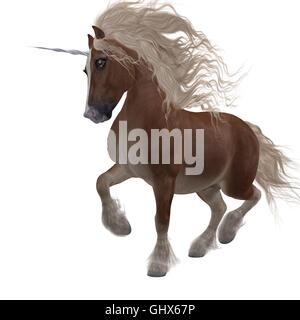 Ein Fantasie-Tier, die ein Kreuz von den Shetland-Pony und das Einhorn Folklore und Legenden ist. - Stockfoto