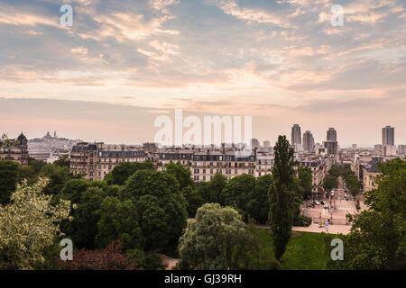 Anzeigen von Parc des Buttes-Chaumont, Paris, Frankreich - Stockfoto