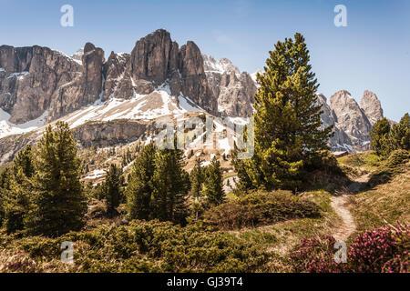 Dolomiten; Blick auf Sellagruppe, Alta Badia, Südtirol, Italien - Stockfoto