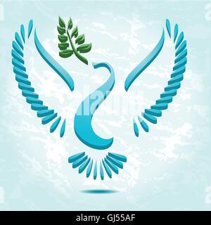 Taube mit dem Ölzweig stilisierte vector - Stockfoto