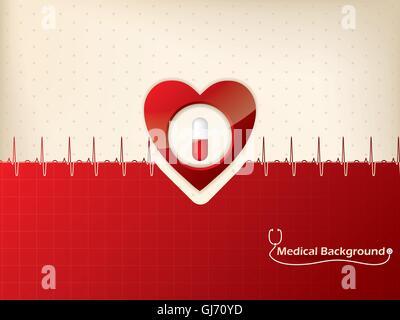 Medizinischer Hintergrund-Design mit Herz und ekg-symbol - Stockfoto