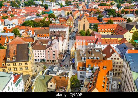 Augsburg, Deutschland Blick auf die Stadt auf dem Dach. - Stockfoto