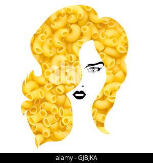 Kreativkonzept Foto einer Frau mit Nudeln Frisur auf weißem Hintergrund. - Stockfoto