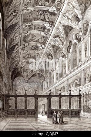 Die Sixtinische Kapelle, Apostolischen Palast, Vatikanstadt, 19. Jahrhundert - Stockfoto