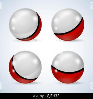 Rote und weiße glänzende Kugeln - Stockfoto