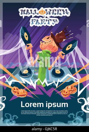 Happy Halloween Banner DJ Jack Mit Kürbis Grimasse Einladungskarte    Stockfoto
