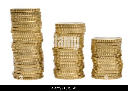 Währung drei Haufen - Stockfoto