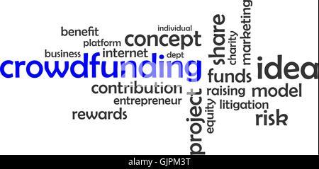 Wortwolke - crowdfunding - Stockfoto