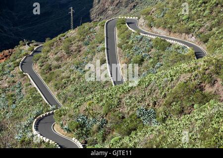 TF-436 schmale Straße von Santiago del Teide im Dorf Masca. Teneriffa, Kanarische Inseln, Spanien - Stockfoto