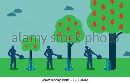 Geschäftsmann Geldbaum gießen und Wachstum - Stockfoto