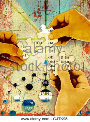 Hände, die Finanzen Jigsaw Puzzle zu lösen - Stockfoto