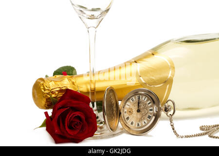 rote rose Uhr mit Champagner-Flasche Champagner - Stockfoto