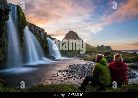 Die Schwestern und Kirkjufell - Stockfoto