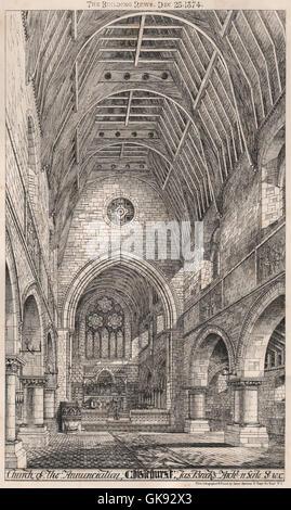 Kirche der Mariä Verkündigung, Chislehurst; JAS Brooks Architekt, alten Drucken 1874 - Stockfoto