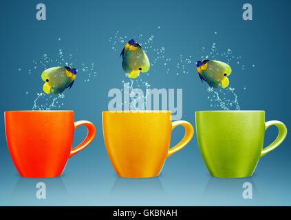 Tasse blau Glas - Stockfoto