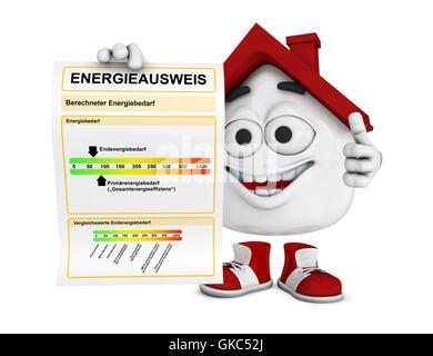 kleine 3d Haus rot - Zertifizierung Energiekonzept 1 - Stockfoto