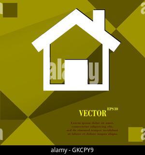 Haus. Wohnung Modernes Webdesign auf einem flachen geometrischen abstrakten Hintergrund - Stockfoto