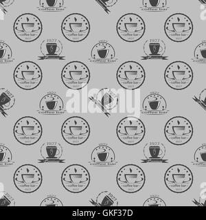 Satz von Vintage Kaffee unter dem Motto monochrome Etiketten. Nahtlose Muster. Vektor - Stockfoto