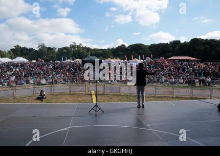 London, UK. 21. August 2016.  Navin Kundra Entertans der großen Menschenmenge, die Sonne liegen im Frtyant Park - Stockfoto