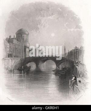 Das Four Courts, Dublin. Irland, antiken print 1835 - Stockfoto