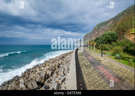 Jardim do Mar Stadt Damm, die Insel Madeira. Stockfoto