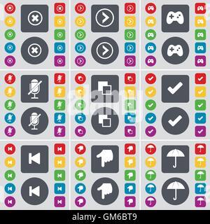 Stop, Pfeil rechts, Gamepad, Mikrofon, Kopieren, Tick, Medien überspringen, Hand, Regenschirm Symbol. Eine große - Stockfoto