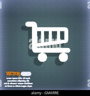 Shopping Cart-Schild-Symbol. Online-Kauf-Button. Auf dem blau-grünen abstrakten Hintergrund mit Schatten und Platz - Stockfoto
