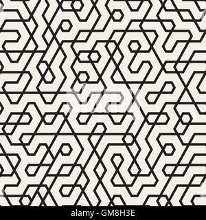 Unregelmäßige Linien Vektormuster nahtlos schwarz / weiß - Stockfoto