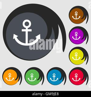 Ankersymbol. Symbole auf acht farbigen Tasten. Vektor - Stockfoto