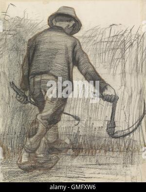 Weizen-Mäher mit Hut, gesehen von hinten, von Vincent Van Gogh, c. 1870-90, niederländische Zeichnung, Kreide und - Stockfoto
