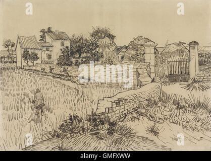 Bauernhof in der Provence, von Vincent Van Gogh, c. 1888, niederländische Zeichnung, Bleistift, Feder und Tinte - Stockfoto