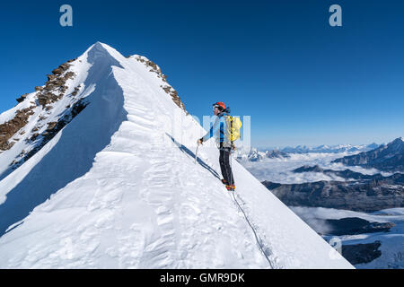 Am Liskamm Traveverse, Monte Rosa Massiv, Italien, Alpen, Europa, EU - Stockfoto