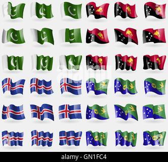 Pakistan, Papua Neu Guinea, Island, Weihnachtsinsel. Satz von 36 Flaggen der Länder der Welt. Vektor - Stockfoto