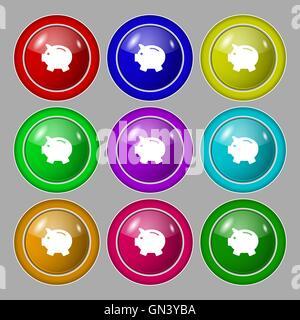 Sparschwein - sparen Geld-Symbol Zeichen. Symbol auf neun Runden bunten Knöpfen. Vektor - Stockfoto