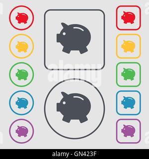 Sparschwein - sparen Geld-Symbol Zeichen. Symbol auf der Runde und quadratische Tasten mit Rahmen. Vektor - Stockfoto