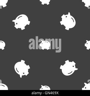 Sparschwein - sparen Geld-Symbol Zeichen. Nahtlose Muster auf einem grauen Hintergrund. Vektor - Stockfoto
