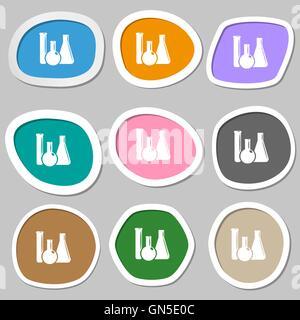 Laborglas Chemie-Symbole. Bunte Papier Sticker. Vektor - Stockfoto