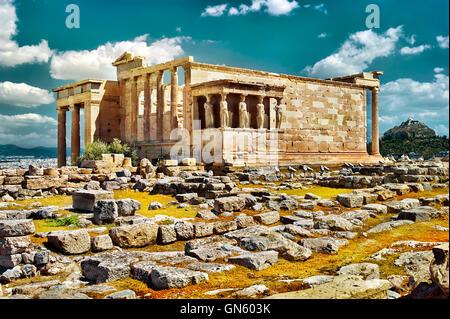 Erechtheion in Akropolis von Athen, Griechenland - Stockfoto