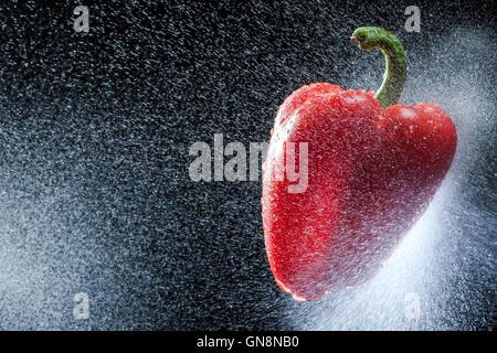 Rote Paprika in einem Spray gegen einen schwarzen Hintergrund. Eine Reihe von Obst und Gemüse in Bewegung. - Stockfoto
