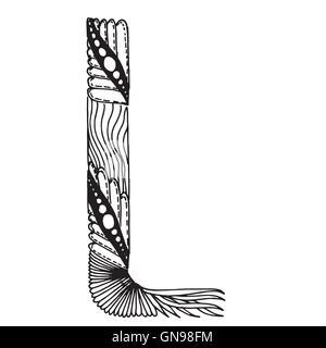 Zentangle stilisierten Buchstaben - Buchstabe L - Stockfoto