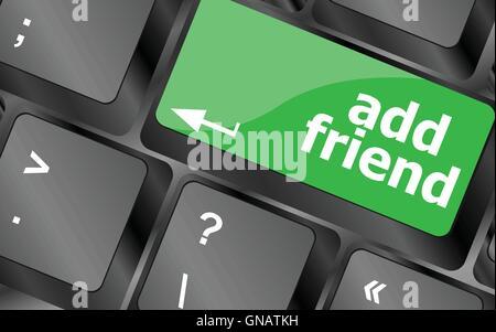 """Tastatur mit hinzufügen Schaltfläche """"Freund"""", soziale Netzwerk-Konzept. Tastatur Tasten Icon Schaltfläche Vektor. - Stockfoto"""