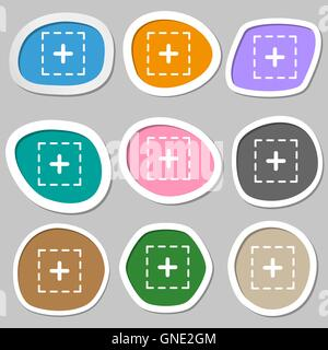 Plus im quadratischen Symbole. Bunte Papier Sticker. Vektor - Stockfoto