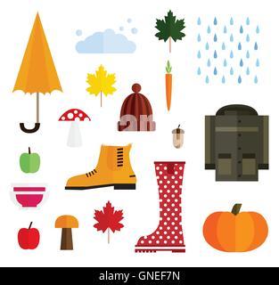 Satz von Herbst Elemente, Isolated on White Background. Vektor-Illustration. - Stockfoto