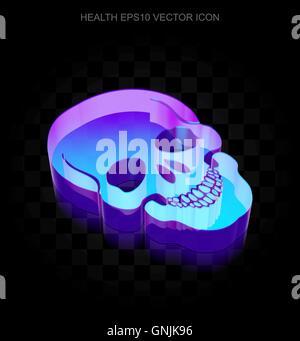 Gesundheitswesen-Symbol: 3d Neon leuchtende Schädel aus Glas, EPS 10 Vektor. - Stockfoto