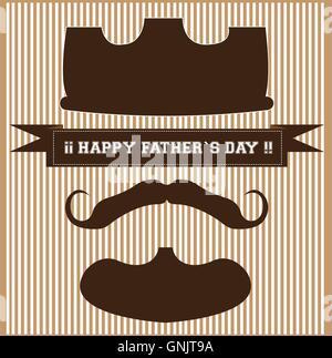 Gestreiften Hintergrund mit Text und Silhouetten von einer Krone, Bart und Schnurrbart für Vaters Tag feiern - Stockfoto