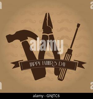 Farbigen Hintergrund mit Silhouetten von Werkzeugen und einer Schleife mit Text für die Feierlichkeiten zum Tag - Stockfoto