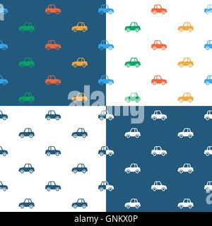 Vektor-Bild von nahtlosen Auto Muster über farbigen Hintergrund - Stockfoto