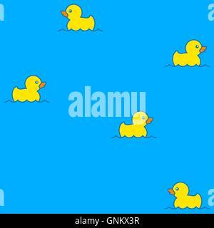 Niedliche Musterdesign mit gelben Gummienten auf dem Wasser schwimmt - Stockfoto