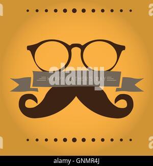 Farbigen Hintergrund mit Silhouetten von Gläsern und einem Schnurrbart für Vaters Tag feiern - Stockfoto